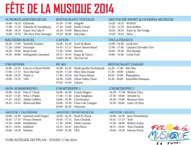 Preliminary Program Fête de la Musique Cologne 2014