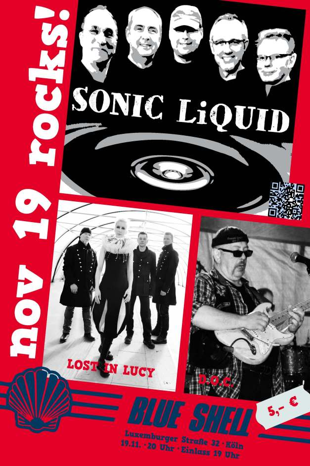 Poster Concert SONIC LiQUID Blue Shell Nov 19 2015